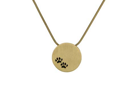 Round Pendant with Paws- Bronze Image