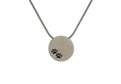Round Pendant with Paws- Pewter Image